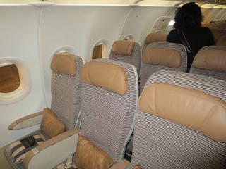 The passenger seats in the Airbus A320 of Etihad Airways