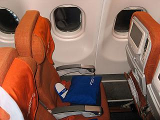 The passenger seat of economy class in Airbus A330-200 Aeroflot