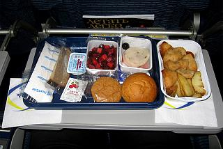 Food on the flight from Moscow to Krasnoyarsk airlines Nordstar