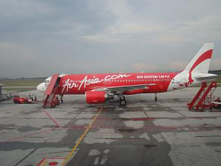 The Airbus A320 airline AirAsia at the airport of Kuala Lumpur