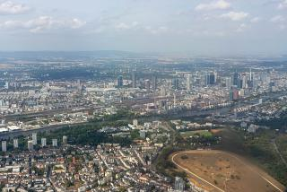 The view from the plane on the city of Frankfurt before boarding at the airport