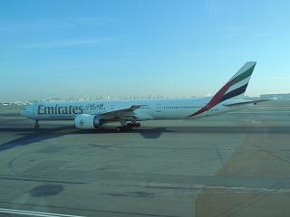 Boeing-777-300 of Emirates airlines in Dubai airport