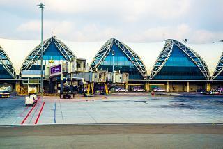 Television ladders Airbus A380 airport Bangkok Suvarnabhumi