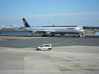 Airbus A340-600 of Lufthansa at Frankfurt airport