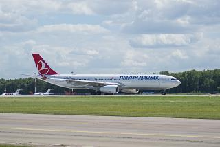 Airbus A330-300 of Turkish Airlines on the runway at Vnukovo airport