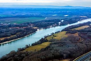 The Danube river during takeoff from Vienna airport