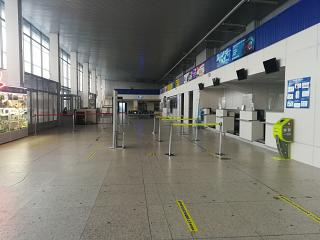 Check-in area for departing flights at Bratsk airport