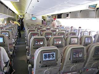 The economy class cabin Boeing-777-300 Emirates airline
