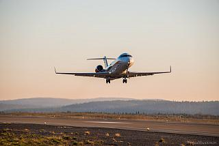 Take-off Bombardier CRJ100 Rusline airline at the airport of Murmansk