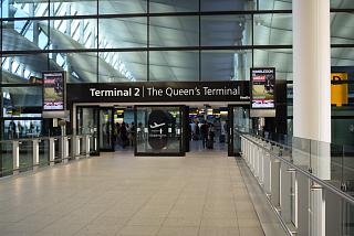 The entrance to the Terminal 2 of London Heathrow airport