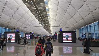 The gallery of gates at Hong Kong airport