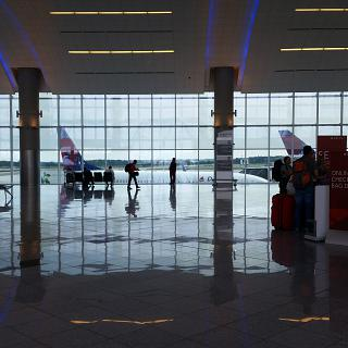 The reception area overlooking the tarmac of Hartsfield-Jackson in Atlanta