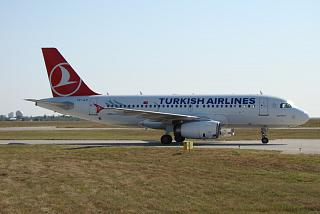 The Airbus A319 TC-JLV Turkish airlines at the airport of Kharkov