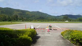 The platform of the airport of Praslin in the Seychelles