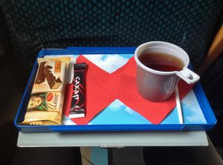 Tea and chocolate bar on the flight Vologda aviation enterprise
