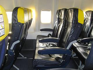 The passenger seats on the Boeing-737-800 Ryanair