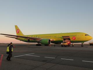 Boeing-767-300 S7 Airlines in the airport of Barnaul