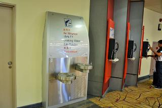 Drinking fountains and telephones are in terminal 2 of Changi airport in Singapore