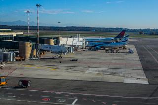 The tarmac of the airport of Milan Malpensa