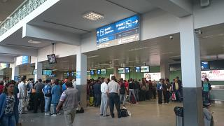 The check-in area for departing flights at the airport of Yakutsk