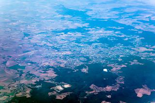View from above from an airplane to the city of Brno in the Czech Republic