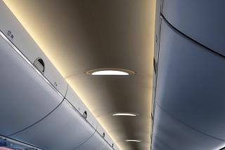 Soft lighting in the passenger compartment of the Airbus A220-300 airliner