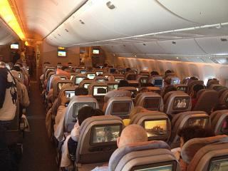 The cabin of the aircraft Boeing-777-300 Emirates airlines