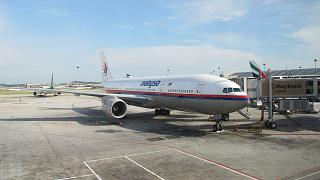 The Boeing 777-200 Malaysia Airlines at the airport in Kuala Lumpur