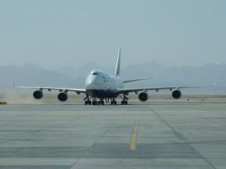 "Boeing-747-400 airline ""Transaero"" at the airport of Hurghada"