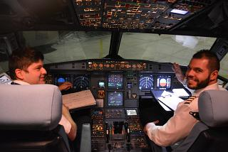 The Ellinair airline pilots in the cockpit of the Airbus A319