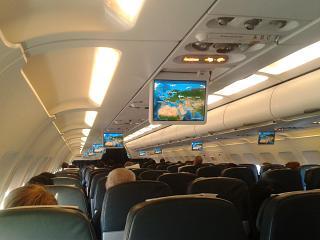 Салон самолета Airbus A320 авиакомпании Air Astana
