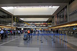 The check-in area for flights to the international airport terminal in Los Angeles