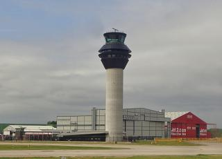 Tower air traffic control at the airport of Manchester