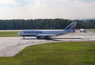 B747-400 Transaero at the airport Sheremetyevo
