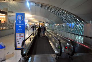The moving walkways at the airport Bangkok Suvarnabhumi