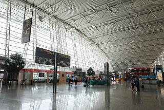 In the center of the passenger terminal of Guangzhou Baiyun international airport
