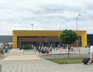 The arrival hall of the airport Varna from the forecourt