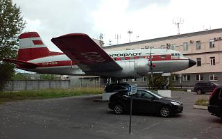 Aircraft monument Il-14 at the airport Talagi Arkhangelsk