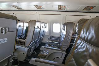 The passenger seats on the Boeing-737-300 of airline Bulgaria Air