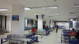 The waiting room in a clean area of terminal 1 of the airport Arkhangelsk Talagi
