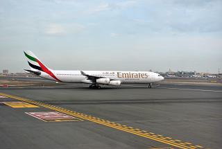 Airbus A340-300 Emirates airlines in Dubai airport