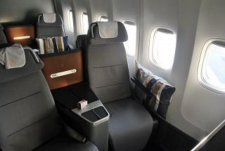 The passenger seats are business class in the Boeing 747-8 Lufthansa