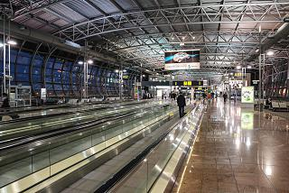 In the departures area of the pier And the airport of Brussels