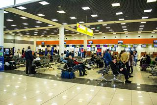 Area check-in terminal E of Sheremetyevo airport