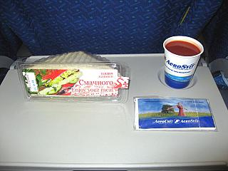 Food on the flight from Moscow to Kiev AeroSvit airlines