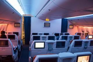 Passenger cabin-class comfort in a Boeing 777-300 Aeroflot