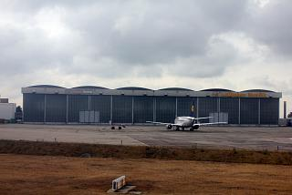 The hangar for maintenance of Lufthansa aircraft at the airport Berlin Brandenburg
