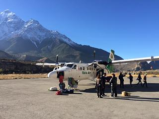 Aircraft DHC-6 Twin Otter of Tara Air airlines at the airport of Jomsom