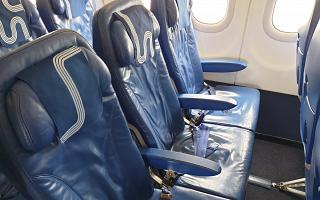 Passenger seats in an Airbus A319 of Aurora Airlines