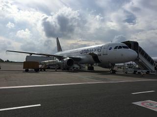 Airbus A320 A7-AHO Катарских авиалиний в аэропорту Мале
